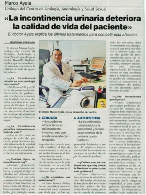 Dr. Ayala: La incontinencia urinaria deteriora la calidad de vida del paciente